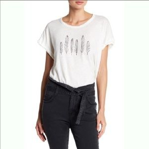 Current/Elliott Rolled Feather Print Tee